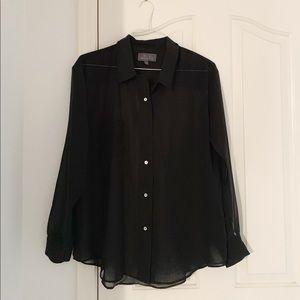 PJK Patterson J Kincaid Sheer Black Button Up Top